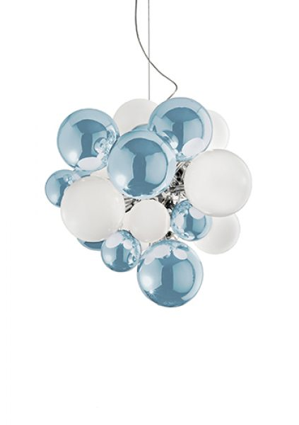 Digit Light Regular - Ceiling - Mirrored Sky Blue and White Lattimo