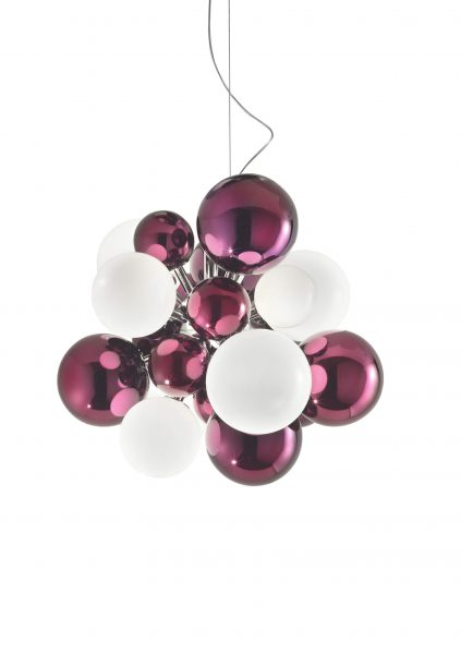 Digit Light Regular - Ceiling - Mirrored Purple and White Lattimo