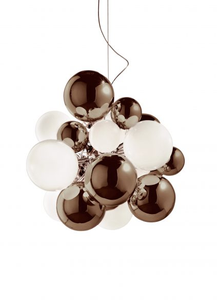 Digit Light - Ceiling - Mirrored Warm Grey and White Lattimo
