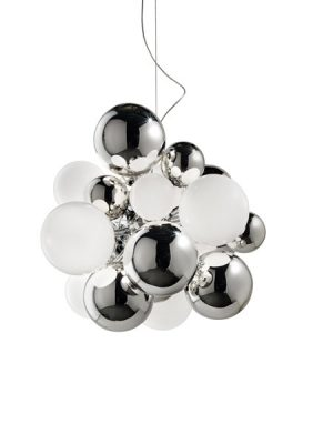 Digit Light Regular - Ceiling - Mirrored Crystal and White Lattimo