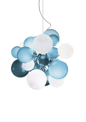Digit Light - Ceiling - Soft Sky Blue and White Lattimo