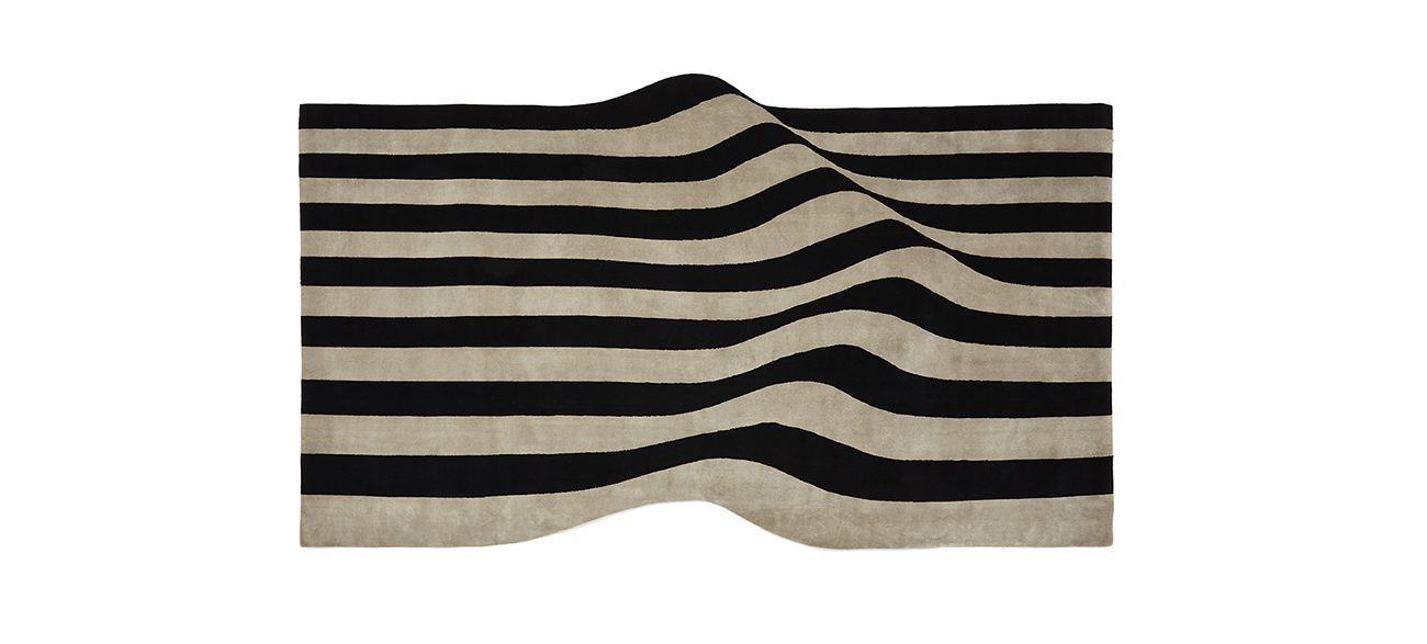 Stripes, hand-knotted, wool and viscose