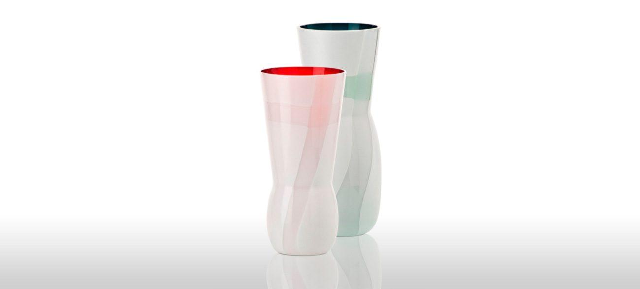 Kimono - handmade and blown glass - Colors: Milk White/Red and Milk White/Horizon