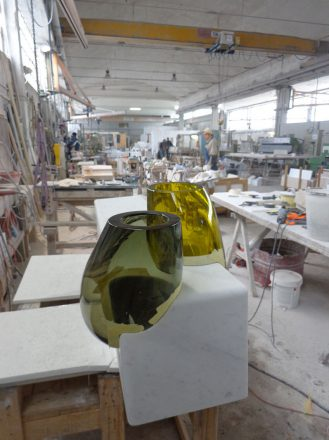 Work in Progress - Carrara Marble and Hand Blown Glass Murano